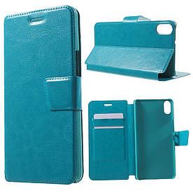 Чехол книжка для BQ Aquaris X5 боковой с отсеком для визиток, Гладкая кожа Голубой