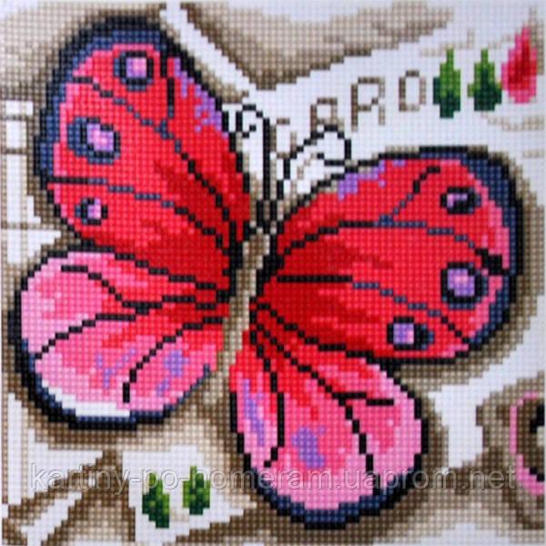 Вышивка камнями Бриллиантовые ручки (на подрамнике) на подрамнике Рожевий метелик (GU_198737) 20 х 20 см