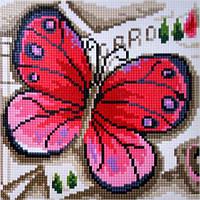 Вышивка камнями Бриллиантовые ручки (на подрамнике) на подрамнике Рожевий метелик (GU_198737) 20 х 20 см, фото 1