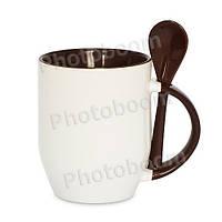 Кружка керамическая для сублимации, с ложкой, коричневая