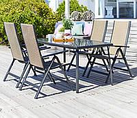 Набор мебели для сада и кафе из метала  (4 стула и столик из метала и стекла)