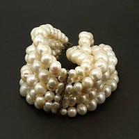Браслет - натуральный белый жемчуг, серебро, 7 нитей!