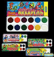 """Краски медовые """"Акварель"""" 12 цветов в картонной упаковке 02002"""