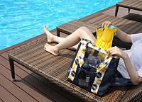 Летняя сумочка для пляжа прорезиненная. Синий.