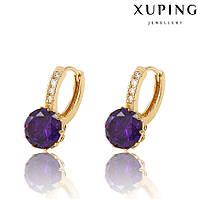 Серьги 27431 размер 20*10 мм, фиолетовые камни, позолота 18К