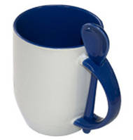 Кружка керамическая для сублимации, с ложкой, синяя
