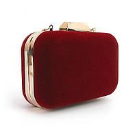 Красная маленькая сумочка-клатч замшевый бокс