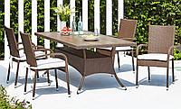 Комплект мебели для сада и кафе из искуссвенного ротанга (4 кресла и большой стол 2 метра)