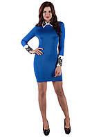 Роскошное платье с воротником  SO-14011-ELB электрик ТМ Alpama 44-48 размеры