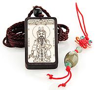 Кулон амулет с изображением китайского бога из самшита