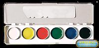 """Краски медовые """"Акварель"""" 6 цветов с прозрачной крышкой  074"""