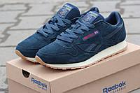 Мужские кроссовки Reebok, замша, темно синие / кроссовки мужские Рибок, удобные и качественные
