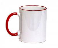 Кружка с цветной ручкой и каймой, красная, Two Tone Mug