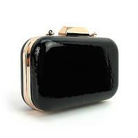 Черный клатч-бокс rh-9021 bla лаковая вечерняя маленькая сумка на цепочке, фото 1