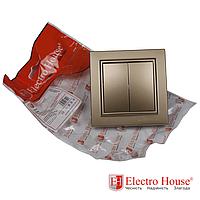 ElectroHouse Выключатель двойной золото Enzo EH-2182-LG