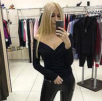 Модная черная ангоровая кофточка на запах. Арт-2061/22