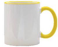 Кружка с цветной ручкой и каймой, желтая, Two Tone Mug