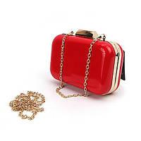Красная сумочка-клатч лаковый вечерний бокс