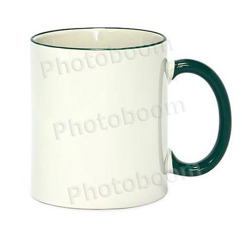 Кружка с цветной ручкой и каймой, зеленая, Two Tone Mug
