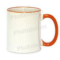 Кружка с цветной ручкой и каймой, оранжевая, Two Tone Mug