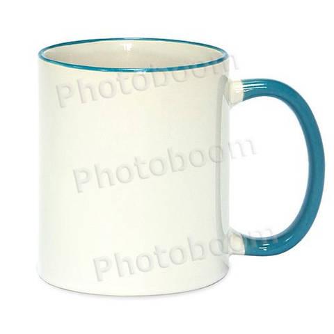 Кружка с цветной ручкой и каймой, светло голубая, Two Tone Mug