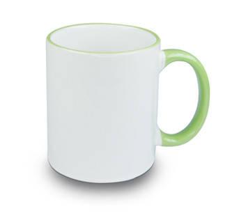 Кружка с цветной ручкой и каймой, светло зеленая, Two Tone Mug