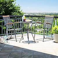Комплект садовой мебели из метала (2 кресла + круглый столик из метала)