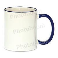 Кружка с цветной ручкой и каймой, синяя, Two Tone Mug