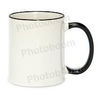 Кружка с цветной ручкой и каймой, черная, Two Tone Mug
