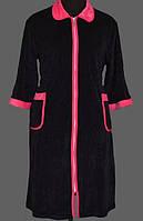 Женский велюровый халат на молнии теплый домашний рукав 3/4 мягкий с карманами Украина