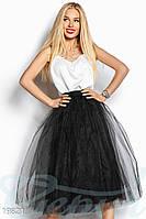 Расклешенная фатиновая юбка. Цвет черный.