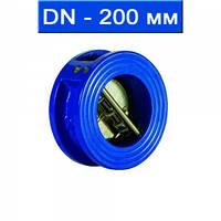 Клапан обратный двухлепестковый подпружиненный межфланцевый, уплотнение EPDM, Ду 200/ 1,6 МПа/ -35 130 °С/ чуг