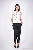Молодежная классическая блуза с принтом БЕЛЫЙ, фото 1