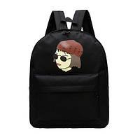 Интересный черный городской рюкзак Девочка хиппи. На каждый день. Хорошее качество. Дешево.  Код: КГ662