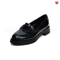 Женские перламутровые туфли лаковые Синий
