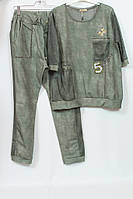 Шикарный женский костюм 52-58р Girl, брючки + блуза, хаки