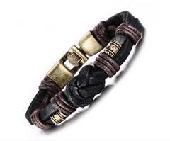 Мужской кожаный браслет  Морской узел