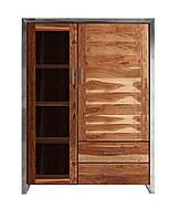 Шкаф с двумя застекленными дверьми и двумя выдвижными ящиками. Ручная работа.