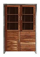 Шкаф с тремя застекленными дверьми и тремя выдвижными ящиками. Ручная работа.