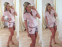 Женский повседневный костюм: футболка с молнией и шорты (3 цвета), фото 1