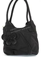Удобная оригинальная стильная прочная женская сумка с цветком art. R18 черная