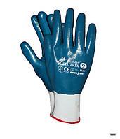 Перчатки синие защитные из полиэфира с нитриловым покрытием REIS DRAGON BLUTRIX.