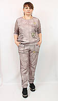 Шикарный женский костюм 52-58р Girl, брючки + блуза, беж