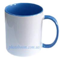 Кружка двухцветная с цветной ручкой, голубая, MUG2T-I