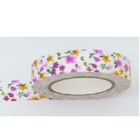 Лента текстильная самоклеющаяся Разноцветные цветы 1,5см х 5м Santi