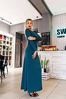 Бирюзовое  женское  платье в пол с открытой спиной. Арт-2066/22