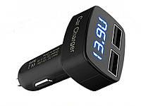 Автомобільний зарядний пристрій USB 4 в 1 з вольтметром, амперметром і t F  синє підсвічування