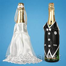 Украшение свадебного шампанского