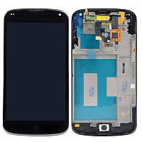 Дисплей (LCD) LG E960 Nexus4 с сенсором черный + рамка