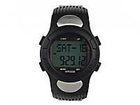 Наручний годинник пульсометр і крокомір Puscard  Чорний з чорними кнопками